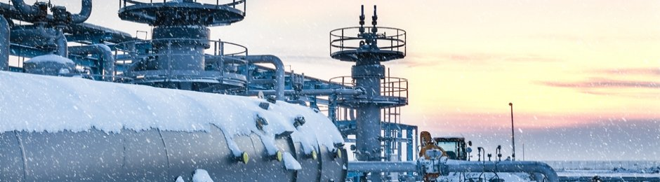 Natural gas processing plant in winter