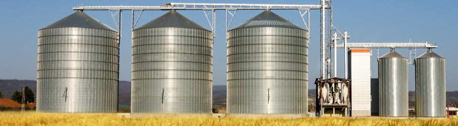 Corn silos on a farm