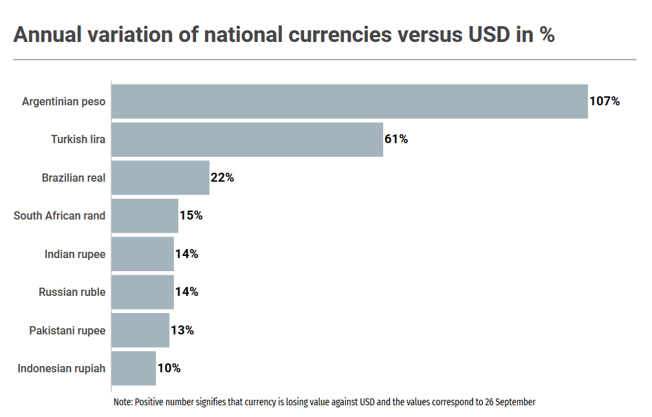 Annual variation of emerging market national currencies versus USD in % 2018